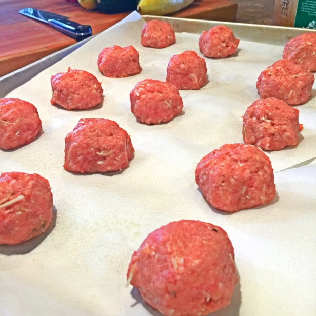 I ended up with 15 meatballs. I took my weights from the scale and divided it all out by 15 meatballs.